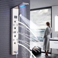 Матовый Никель душевая колонна кран светодио дный свет на стену Ванная комната Ванна Системы SPA распылитель для массажа Температура Экран