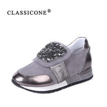 CLASSICONE women shoes spring autumn woman sneakers scoop flats with genuine leather fashion brand luxury style casual crystal