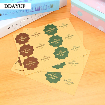 120pcs/10sheet Rushed Handmade  Adhesive Stickers Kraft Label Sticker Diameter For Diy Hand Made Gift Cake Candy Paper Tags 80pcs 10sheet thank you label stickers kraft label sticker diameter for diy hand made for gift cake sealing hang tag