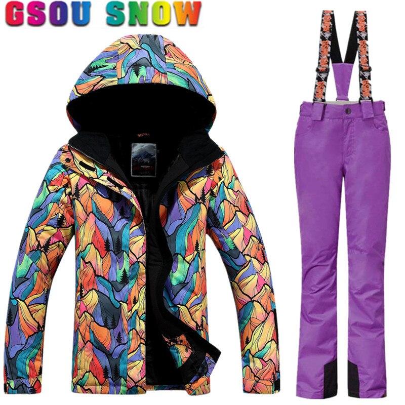 Marca Mujeres Traje de Esquí Impermeable Chaqueta de Esquí Gsou Nieve  Pantalones Conjuntos de Invierno Pantalones Mujer de Nieve Chaqueta de  Snowboard Ropa ... 90a8151dfca