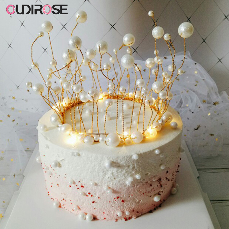 Marvelous Led Glitter Pearl Crown Cake Topper Teenage Princess Party Top Funny Birthday Cards Online Aeocydamsfinfo