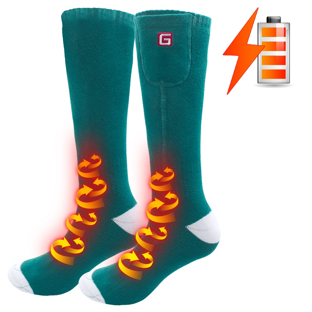 QILOVE 3 7V Winter Unisex Battery Heated Socks Kit Electric Rechargeable for Indoor Sleeping