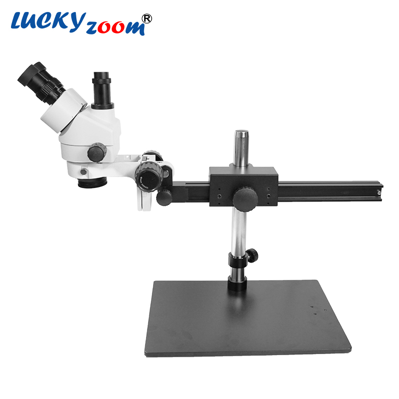 Luckyzoom Brand Professional 7X 45X Trinocular Guide Stereo Zoom Microscope 25cm Working Distance PCB Inspection Microscopio