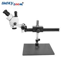 Luckyzoom бренд Professional 7X-45X тринокулярное руководство стерео зум микроскоп 25 см рабочее расстояние PCB инспекции Microscopio