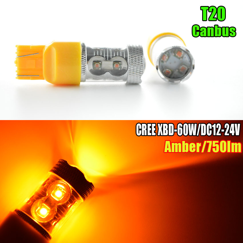 2X60w AMBER/Orange CANBUS ERROR FREE XBD Chips Led T20 7440 W21W 7443 W21/5W 12-24V Trucks LED CAR LIGHT BULB ruiandsion 2x75w 900lm 15smd xbd chips red error free 1156 ba15s p21w led backup revers light canbus 12 24vdc
