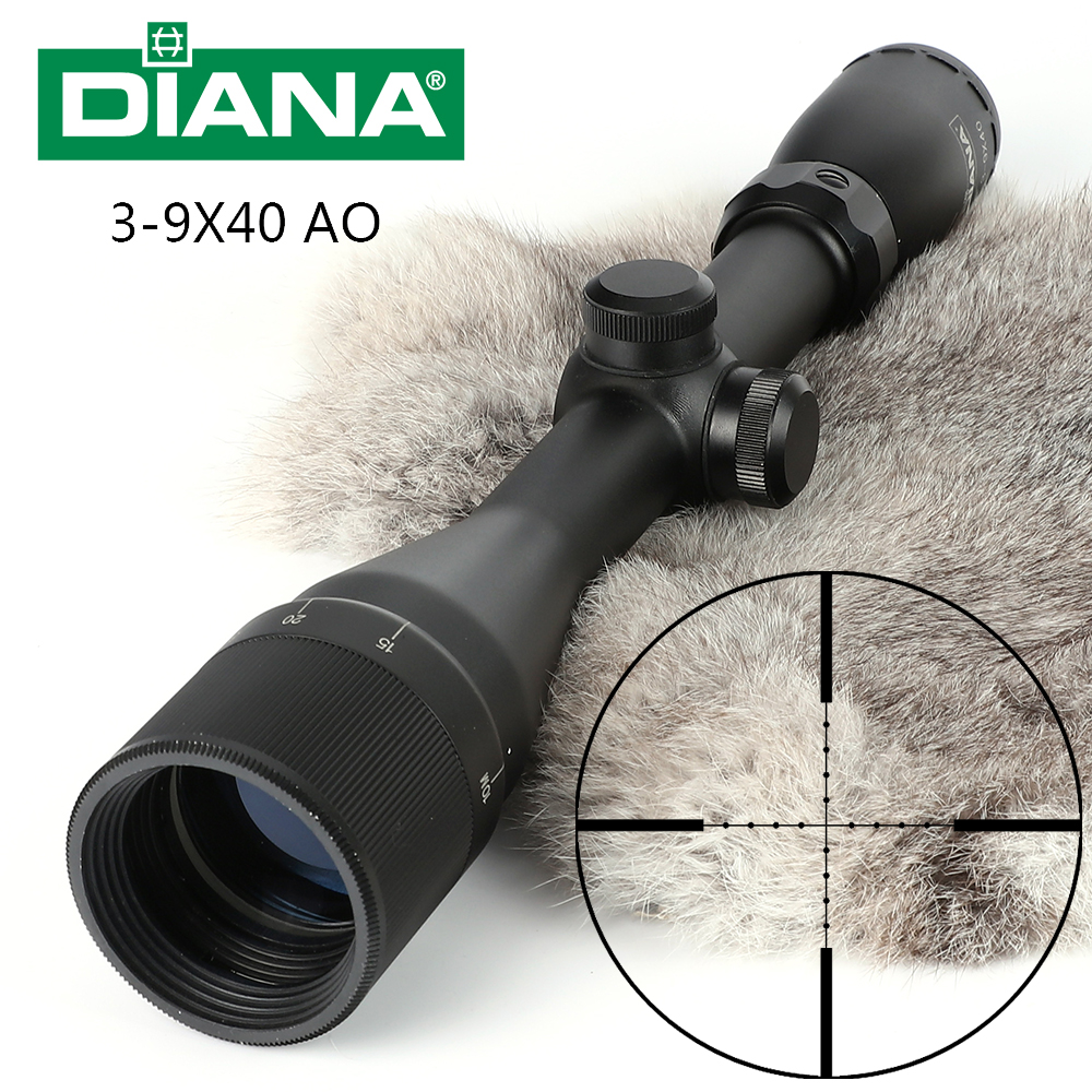 Tactical DIANA 3-9X40 AO Riflescope One Tube Mil Dot Reticle Optical Sight Hunting Rifle Scope