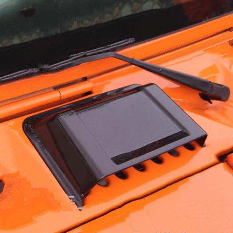 Exterior del coche negro capucha de ventilación de aire capó para Jeep Wrangler JK 98-18 nueva INJORA 2 uds Metal Pedal y caja de receptor para 1:10 RC Rock Crawler coche Axial Scx10 SCX10 II 90046 Jeep Wrangler Shell cuerpo