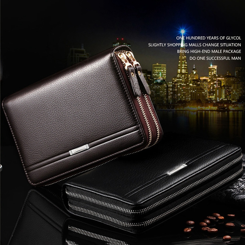 FGGS-Leinasen Men Wallets With Coin Pocket Long Zipper Coin Purse For Men Clutch Business Male Wallet Double Zipper Vintage La
