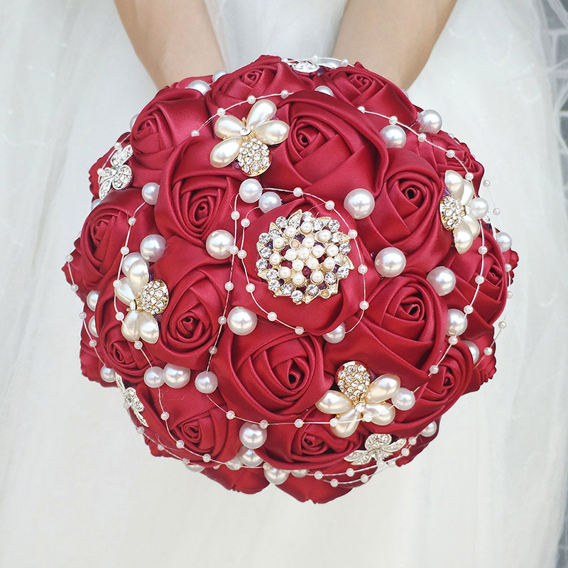 1  WifeLai-A Manufacturing facility Sale Wine Purple Shade Bride Bouquet Marriage ceremony Flowers de noiva Uncooked Shade Pearl Silver Diamond Beaded 18cm W251 HTB1QvXUaPfguuRjSszcq6zb7FXai