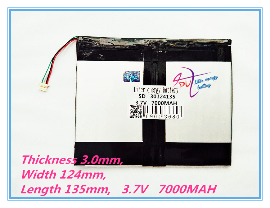 4 thread polymer lithium ion battery 30124135 3.7V 7000MAH With plug For CH, Tablet PC Battery , Perfect quality of lar 3 7v 12000mah 1640138 combination rechargeable lipo polymer lithium li ion battery for power bank tablet pc laptop pad pcm board