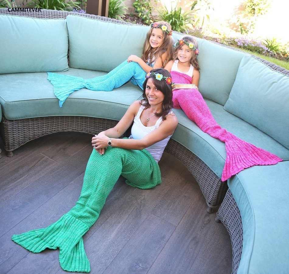 CAMMITEVER 4 Sizes Yarn Knitted Mermaid Tail Blanket Soft Sleeping Bed Handmade Crochet Anti-Pilling Portable Blanket For Spring