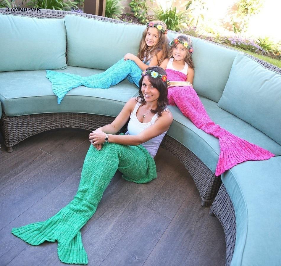 CAMMITEVER Soft Knitted Mermaid Tail Blanket Sleeping Bed Handmade Crochet Anti-Pilling Portable Yarn Blanket Birthday Gift(China)