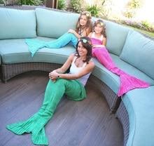 CAMMITEVER 4 Sizes Yarn Knitted Mermaid Tail Blanket Soft Sleeping Bed Handmade Crochet Anti-Pilling Portable Blanket For Spring