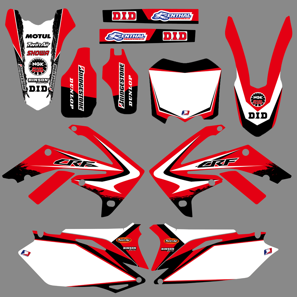 Graphic Background Decals And Stickers For Honda CRF250R 2010 2011 2012 2013 CRF450R 2009-12 CRF 250 250R 450 450R CRF250 CRF450 for honda crf 250r 450r 2004 2006 crf 250x 450x 2004 2015 red motorcycle dirt bike off road cnc pivot brake clutch lever