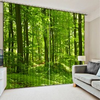 Photo Customize Size 2016 Fashion 3D Home Decor Beautiful Green Forest Curtains For Living Room