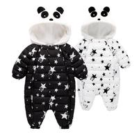 1PC Double Zippers Baby Boy Panda Bodysuit Soft Fleece Lining Thick Boy Outfit Jumpsuit Infant Winter Cotton Quilted Clothes