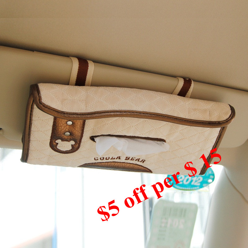 Coola diffee 15*26 (mm) car sun visor type tissue box napkin holder women beige car accessories for girls auto styling 2512 ...