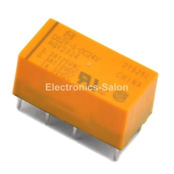 ( 20 pcs/lot )  DS2Y-S-DC24V Miniature Signal Relay, DPDT / 2 Form C.