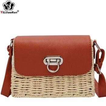 eb839339ff70 Модные ручного плетения сумка мессенджер соломенная маленькая летние  пляжные сумки для 2019, женская обувь роскошные сумки дизайнер Borsa Маре
