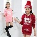 Oferta especial de 2015 niñas de la moda con capucha de terciopelo de lana sudaderas 3-12yrs niños clothing niños femeninos de invierno hoodies coat g163