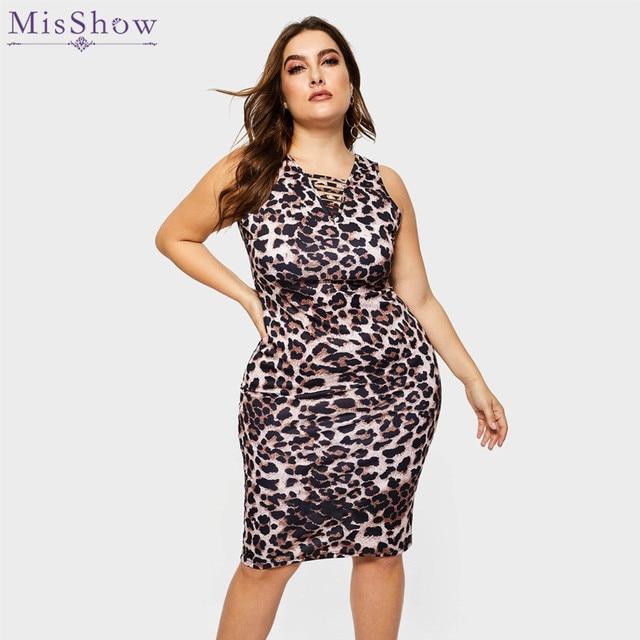 012b988ba0 US $33.32  Misshow Plus Size Spring Summer Leopard Dress Women Dress Sexy  5XL Bodycon Dress Oversize Party Dresses Robe Femme-in Dresses from Women's  ...