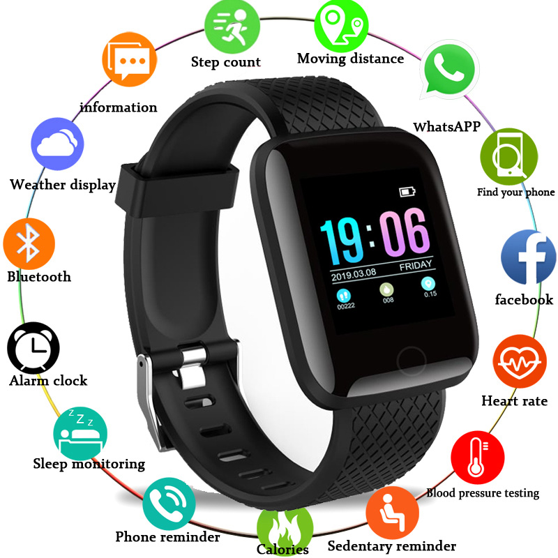 116 Plus Smart Watch Sports Fitness Activity Heart Rate Tracker Blood Pressure  Call Message Reminder Android Band Phone PK M3 xanes a6s