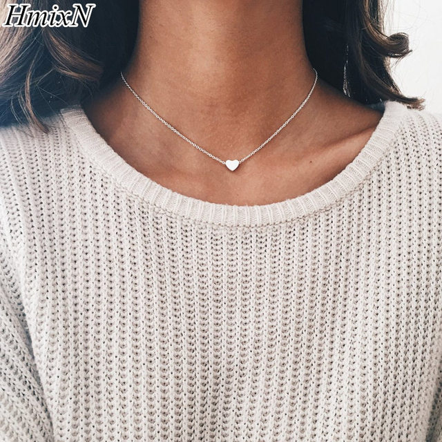 2PCS heart style choker necklace small love Chocker Silver Chain For Women Penda