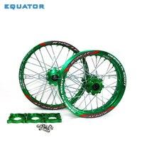 Front 1.60x17 Rear 1.85x14 Alloy Wheel Rim with CNC Hub of 15mm hole For KLX TTR125CC Dirt Pit bike 14 17 ihch Green wheel