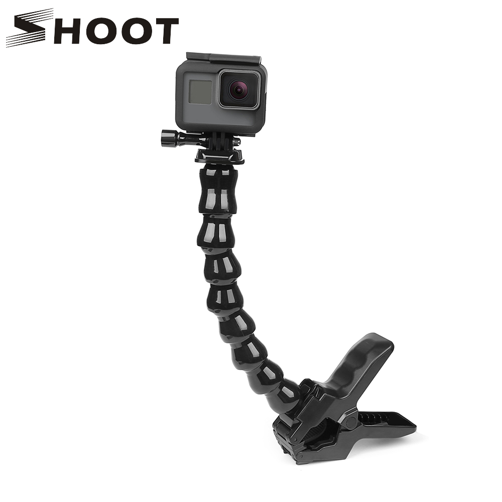 SHOOT Jaws Flex Clamp Mount dengan Gooseneck laras Fleksibel untuk GoPro Hero 6 5 7 4 Sjcam Yi 4K Camera Accessory Tripod Camera
