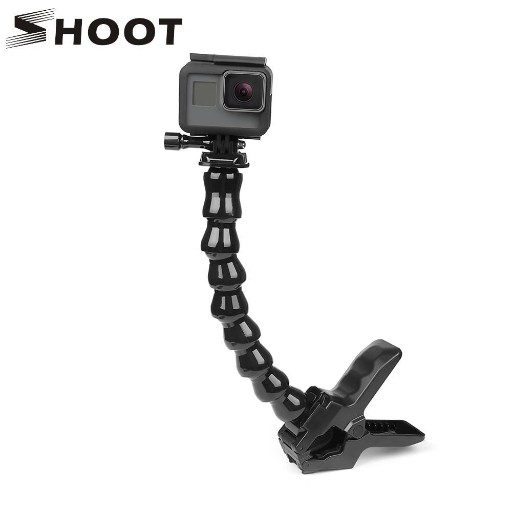 SHOOT Jaws Flex Clamp Mount With Flexible Adjustable Gooseneck For GoPro Hero 8 7 6 5 Sjcam Yi 4K Action Camera Tripod Accessory