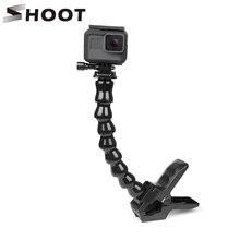 SHOOT montura Flexible con abrazadera y dientes con cuello de cisne ajustable Flexible para GoPro Hero 9 8 7 5 Sjcam Yi 4K, accesorio para trípode de cámara de acción