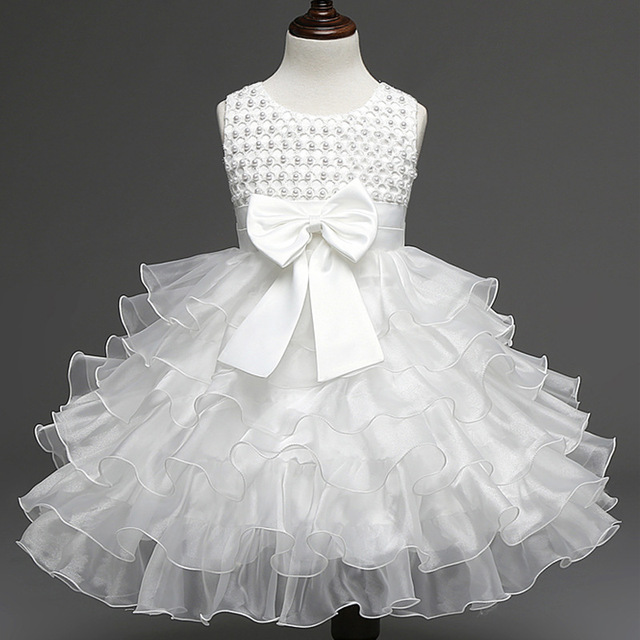 New Solid Baby Girl Dress Pearls Bow 1 Year Birthday Dress For Baby Girl Clothes Sleeveless Infant Wedding Princess Dresses
