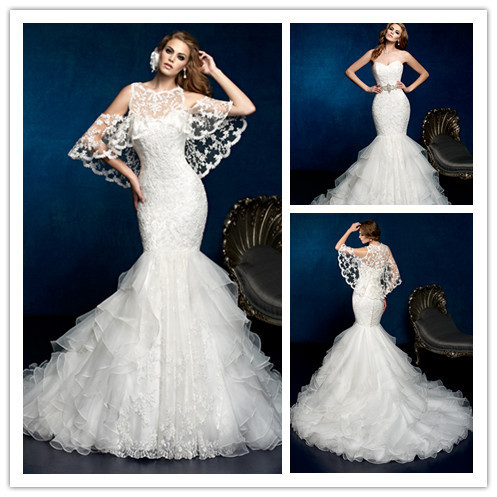Custom Size Exquisite Lace Wedding Dresses With Cape Mermaid Gowns Long Ruffles Bridal Gown For Wedding