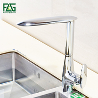 FLG Brass Kitchen Faucet Mixer Cold And Hot Kitchen Tap Chrome Single Hole Water Tap Kitchen