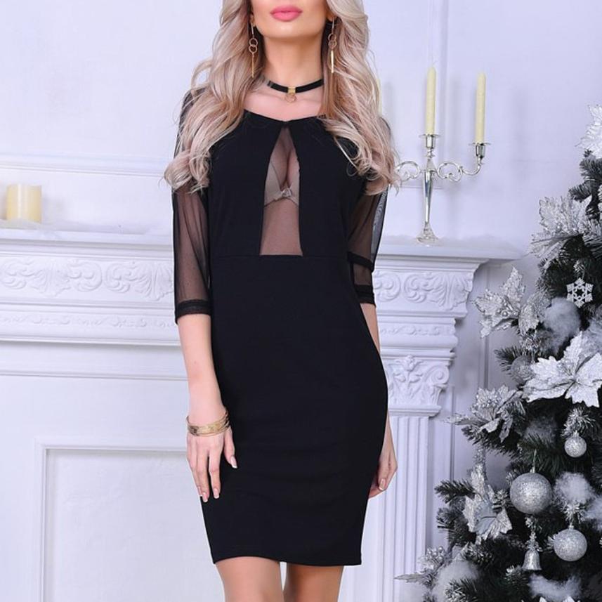 JAYCOSIN 2018 Women Dress Sexy Bodycon Sheath Dresses Ladies Club Party Perspective Mini Dress dropshipping csv f9
