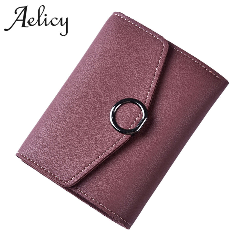 Aelicy Women Lady Mini Leather Wallet  Zipper Hasp Short Purse Coin Purse Money Bag Small Clutch Credit Card Holder Wallet
