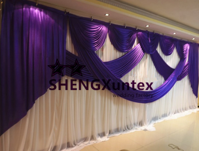 3m 6m size white and purple color wedding backdrop curtain stage