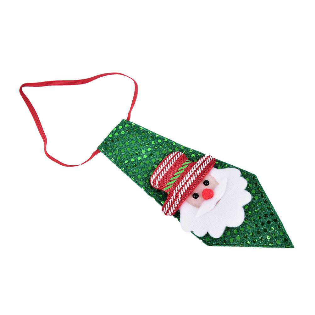 1 PC Christmas Tie Sequins Santa Claus Snowman Reindeer ตกแต่งหมีสำหรับ Xmas เครื่องประดับเด็กของเล่น Decor