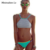 2016 New Sexy Bandage High Neck Female Bikini Set Swimsuit Swimwear Women Maillot De Bain Beach