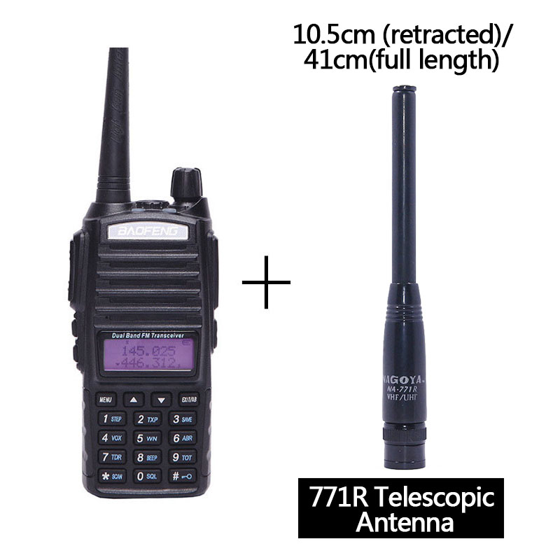 Baofeng UV-82 Plus vhf/uhf Long Range 8W Powerful Walkie Talkie Portable CB Transceiver Amateur 2 way Radio BF-UV82+771R Antenna