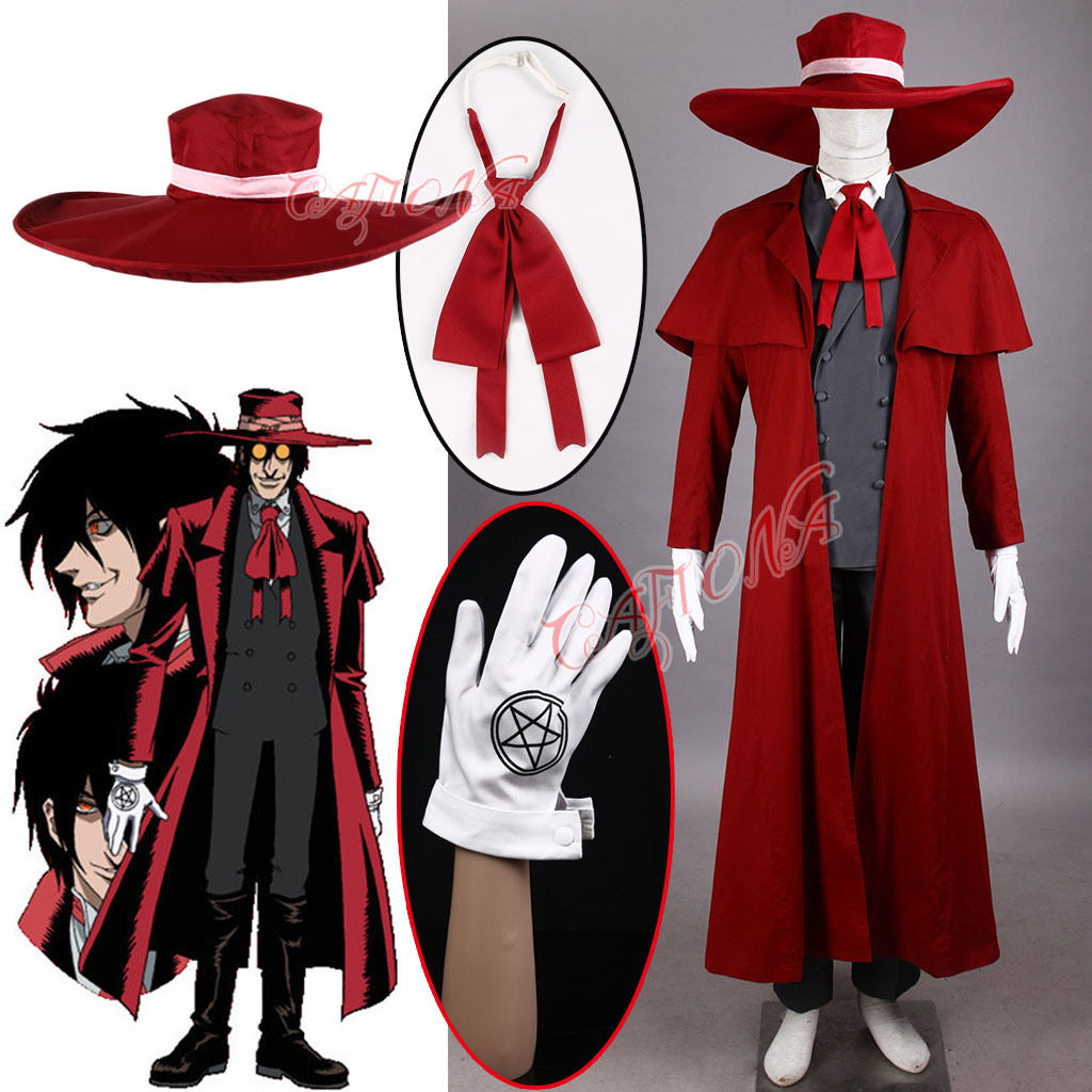 Hot Sell NEW Hellsing Alucard Cosplay Costume Set Vampire Hunter