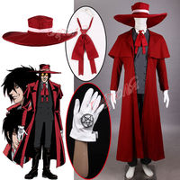 Cafiona Hot Hellsing Alucard Cosplay Costumes Cool Vampire Hunter Long Red Coat Halloween Outfit