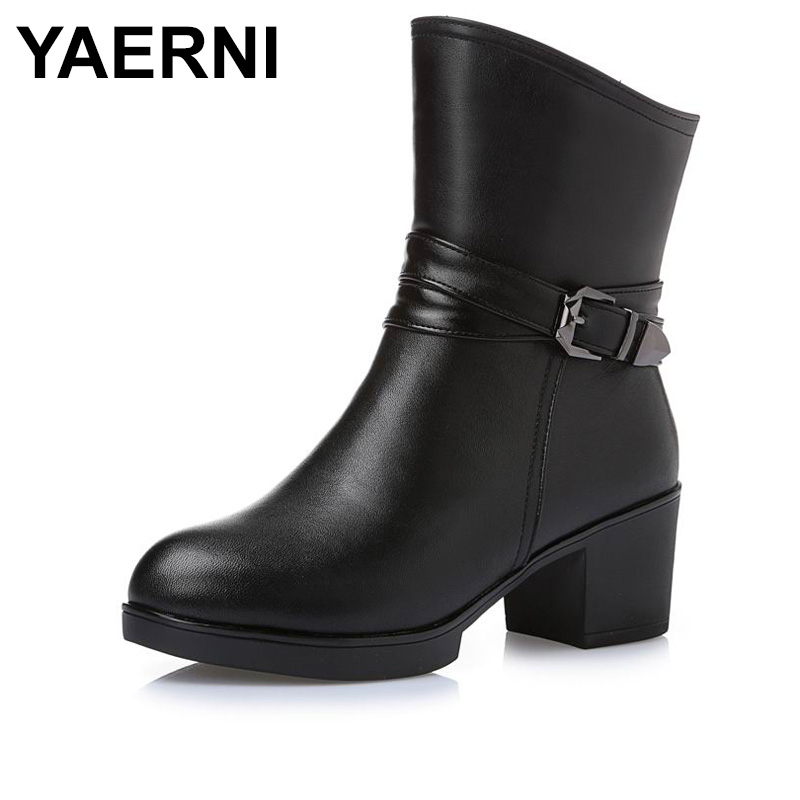 YAERNI New Plus Size Winter Women Snow Boots Mid-Calf Solid Thick High Heels Genuine Leather Shoes Women Warm Plush Boots Ladies стоимость