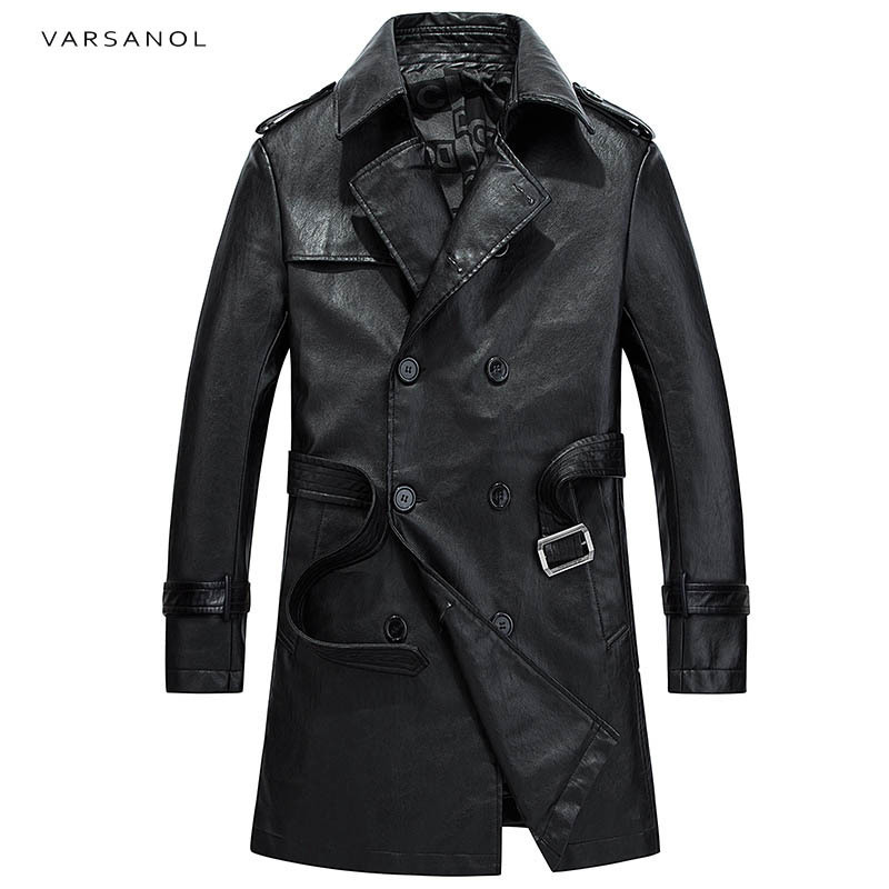 Varsanol Brand Long Trench Mens Jackets Coats Windbreaker Full Sleeve Autumn Turn-Down Collar Black Waistband Button Outerwear