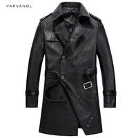Varsanol Brand Long Trench Mens Jackets Coats Windbreaker Full Sleeve Autumn Turn Down Collar Black Waistband Button Outerwear