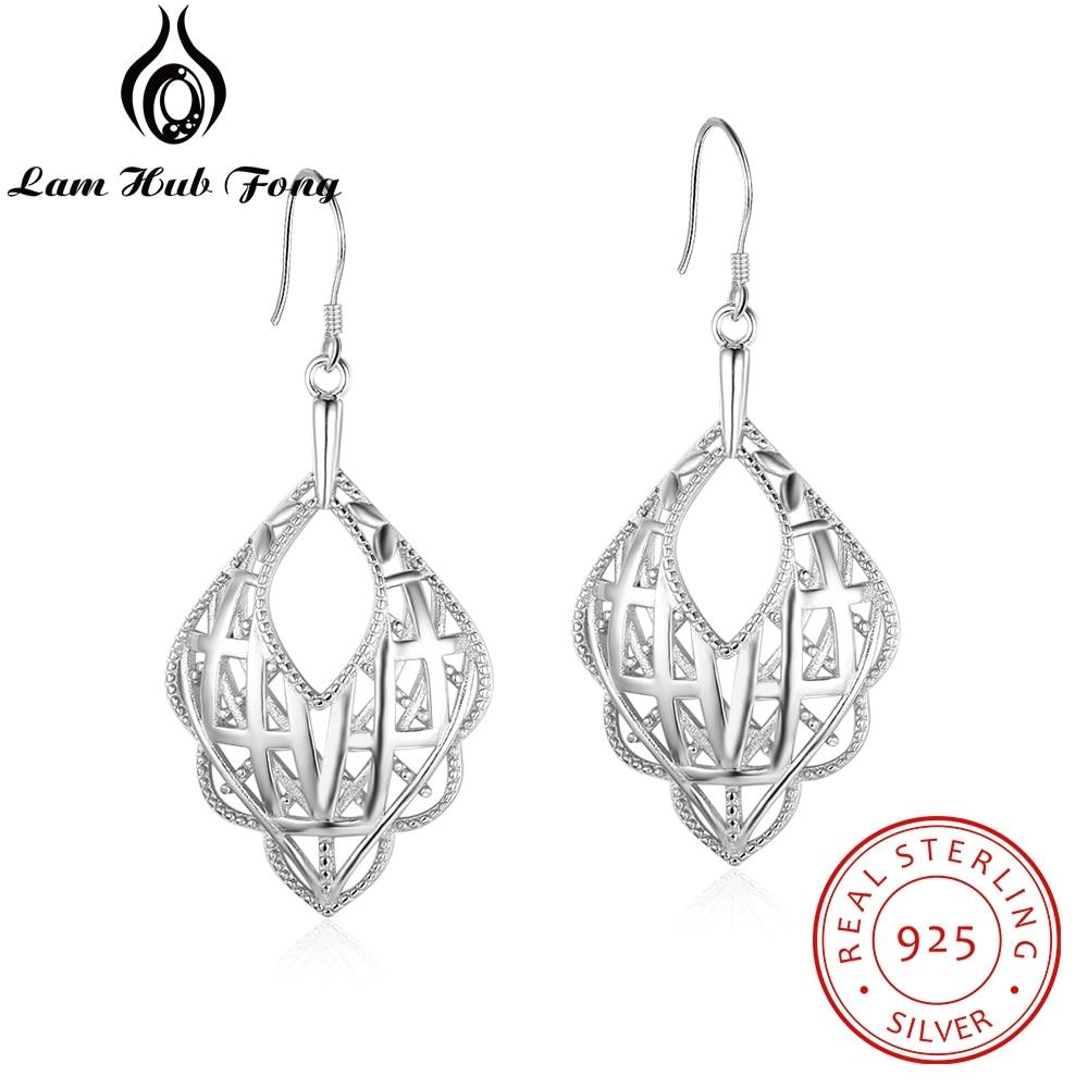 925 Sterling Silver Small Scalloped Dangle Drop Earrings for Women Geometric Long Hollow Earrings Female Jewelry (Lam Hub Fong)