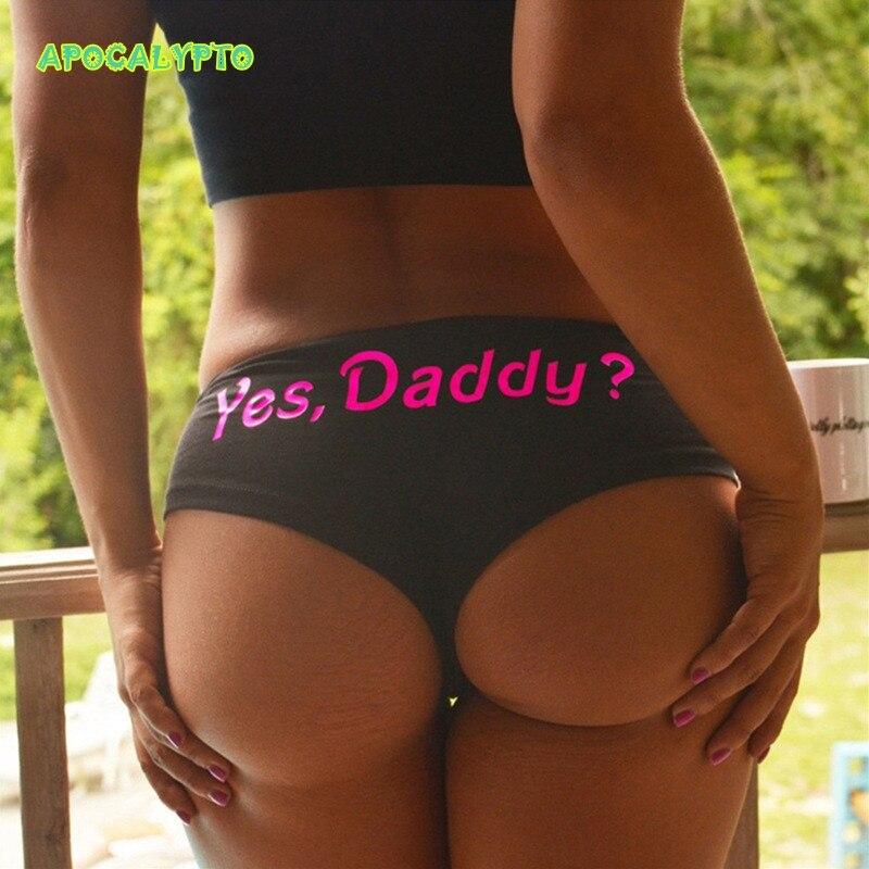 Funny Trend Lingerie Tanga Yes Daddy Letter Women's Panties Baby Girl Underpants Briefs T String Thongs Printed Ladies Underwear