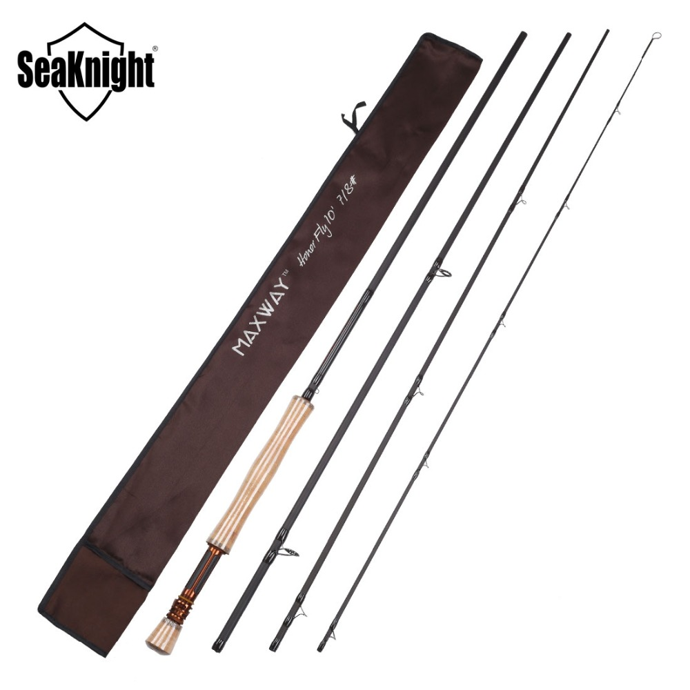 все цены на New SeaKnight MAXWAY HONOR Fly Fishing Rod 7/8# Carbon 4 Sections Super Light 125g 3.0M Carbon Action Fishing Tackle онлайн