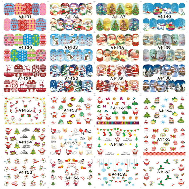 31Decals Christmas Water Transfer Snowflake/Santa Tree/Snowman Cartoons Pattern Decals Nails Art Sticker Nail Wraps Foil ds300 2016 new water transfer stickers for nails beauty harajuku blue totem decoration nail wraps sticker fingernails decals