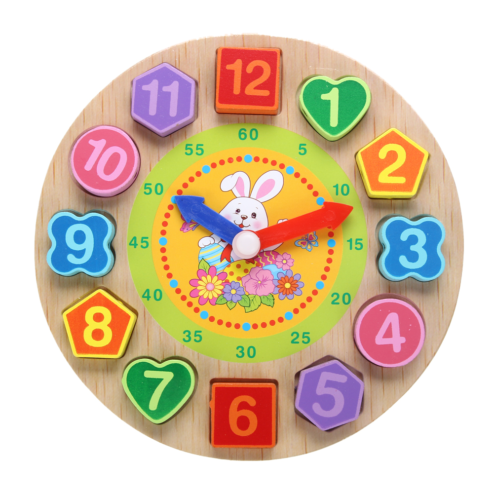 Kids 3d Puzzle Wooden Toys Colorful Geometry Shape Cognition Wood Geometric Shapes Circuit Board Pattern Square Wall Clock Animal Cartoon Digital Children Threading 12 Numbers Jigsaw Puzzles